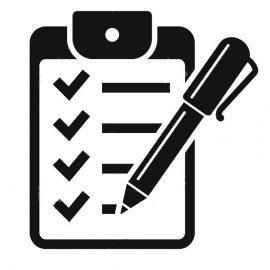 Clipboard with pen icon. Checklist with pen vector symbol.